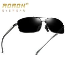 AORON Мужские поляризационные солнцезащитные очки, мужские классические прямоугольные солнцезащитные очки, оправа из алюминиево-магниевого сплава, UV400 очки