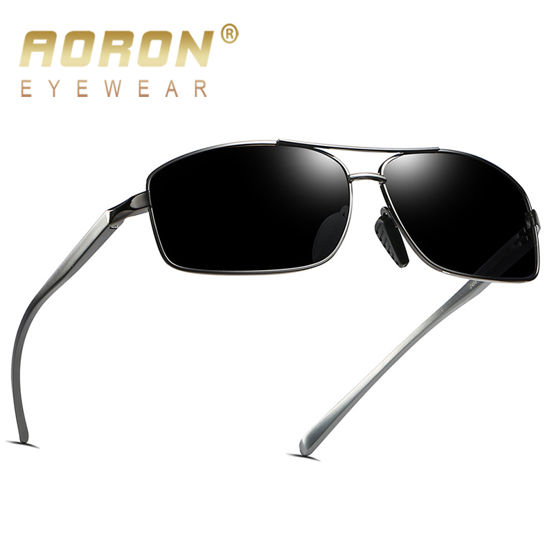 AORON Mens Polarized Sunglasses Men Classic Rectangle Sun Glasses Aluminum Magnesium Frame UV400 Eyewear