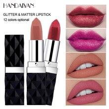 Matte Lipstick HANDAIYAN Cosmetics Gloss Makeup Shimmer Glitter Lip-Tint Long-Lasting