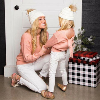 HOT SALE Mother&Daughter Matching Outfits Mom Girl Solid Bowknot Warm Bow Long Sleeve Pink Sweater Family Clothes