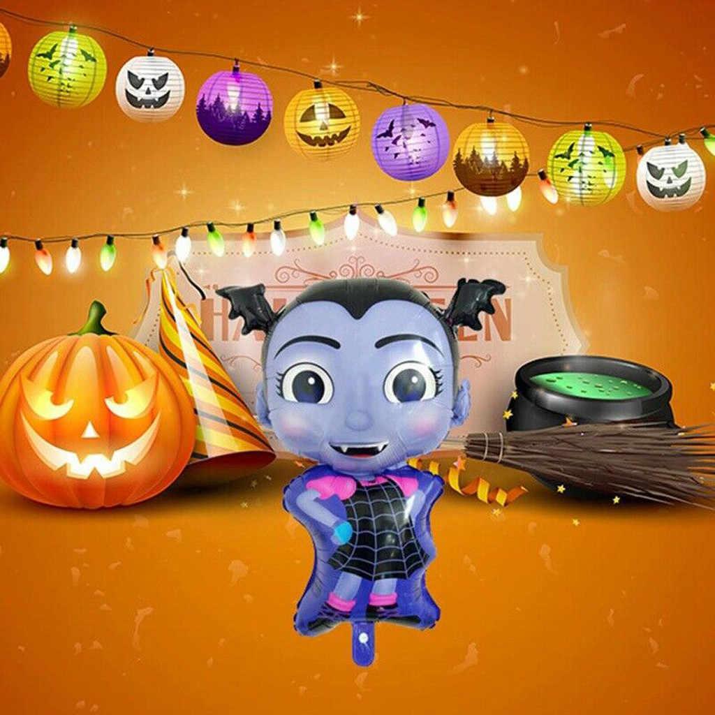 1pc Vampire Girl Pentagram Witch Helium Foil Balloons Children Toys Globos Halloween Party Latex Vampirina Balloon Decor