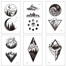 Tatto Stickers Hill Tatouage Forest Sun-Moon Girl Women Triangle