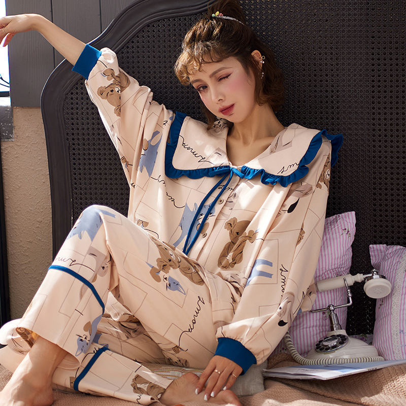 2020 Spring New Ladies Long-sleeved Trousers Pajamas Princess Style Cardigan Spring And Autumn Combed Cotton Home Service Suit