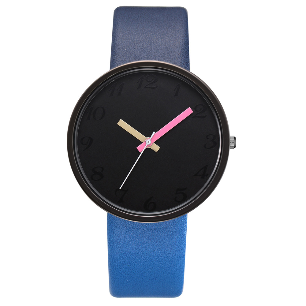 Fashion Contrast Couple Watch Candy Color Watches New Casual Personality Quartz Leather Watch Gifts For Lovers Multicolor Clock