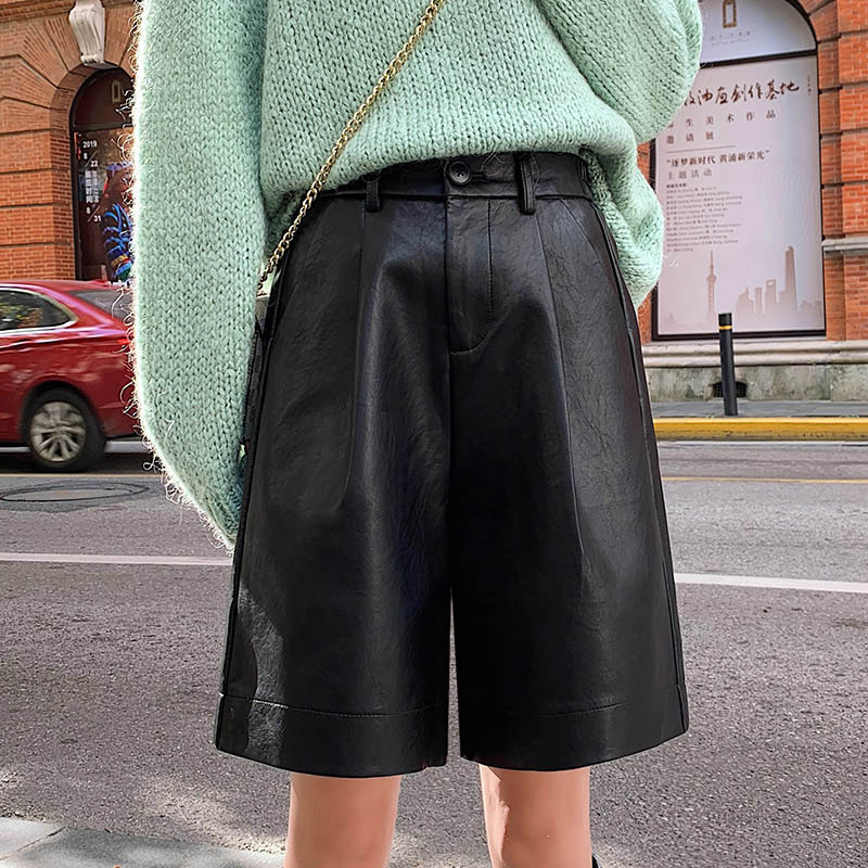 Women's Autumn Winter Bermuda Elastic Waist Loose Five Points Leather Trouser Plus Size Shorts S-3XL Fashion PU Leather Shorts