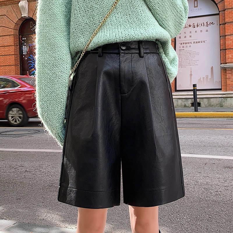 Women's Autumn Winter Bermuda Elastic Waist Loose Five Points Leather Trouser Plus Size Shorts S-3XL Fashion PU Leather Shorts
