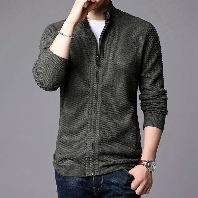 Young Men Of 2019 Autumn Winters Jacquard Cardigan Sweater Thickening Pure Color Collar Sweater