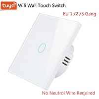 Eu 1/2/3 ギャングチュウヤ wifi スマートスイッチ単一の火災 wire no 中性線スイッチ無線 lan 壁ライトスイッチタッチパネル rf 433 mhz の
