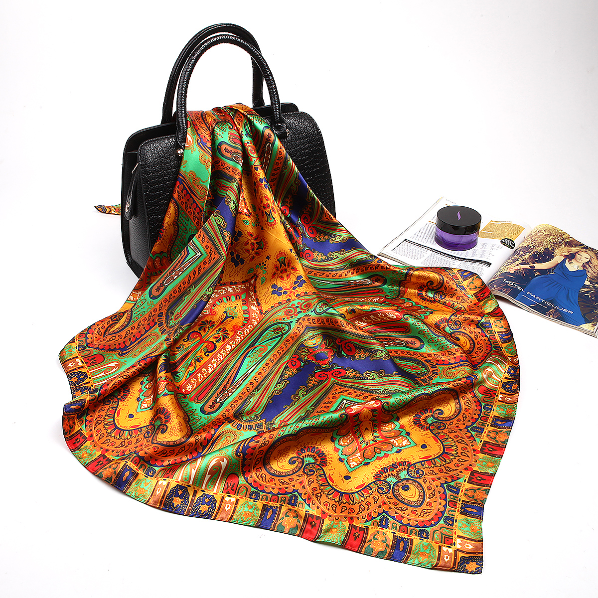 Fashion Silk Satin Hijab Scarf For Women Printed Kerchief Hair Scarfs Female 90cm*90cm Square Shawl Wraps Neck Scarfs For Ladies