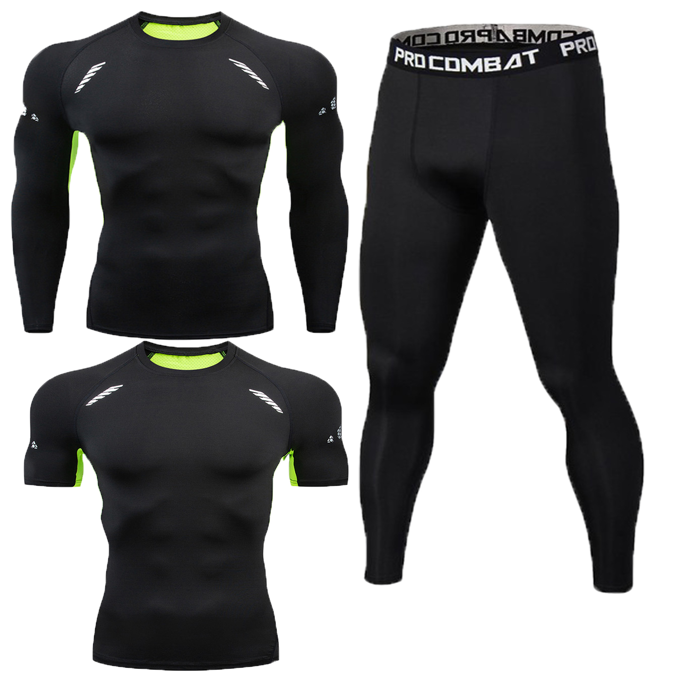 Men's Long-sleeved Short-sleeved T-shirt 3pieces Of Sports Running Shirt Tights Fitness Stretch Training Quick-drying Tights Men