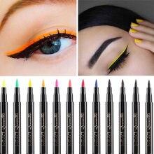 1 pc rápido seco longa duração fina cabeça olho forro caneta à prova dwaterproof água colorido líquido delineador lápis maquiagem ferramentas preto/azul/vermelho/marrom