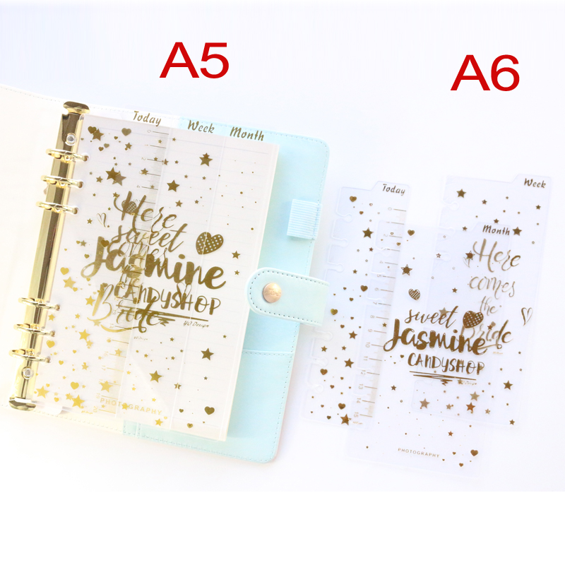 Domikee Cute Gold Foil Transparent PP 6 Holes Ruler Dividers Set For Spiral Agenda Planner Organizer Notebooks Stationery A5A6