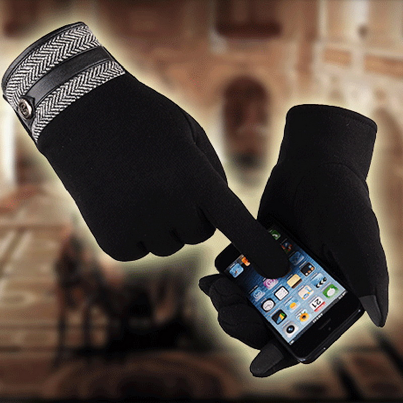 Puimentiua Unisex Gloves Colorful Mobile Phone Touched Gloves Warm Men Women Winter Mittens Black Warm Smartphone Driving Glove