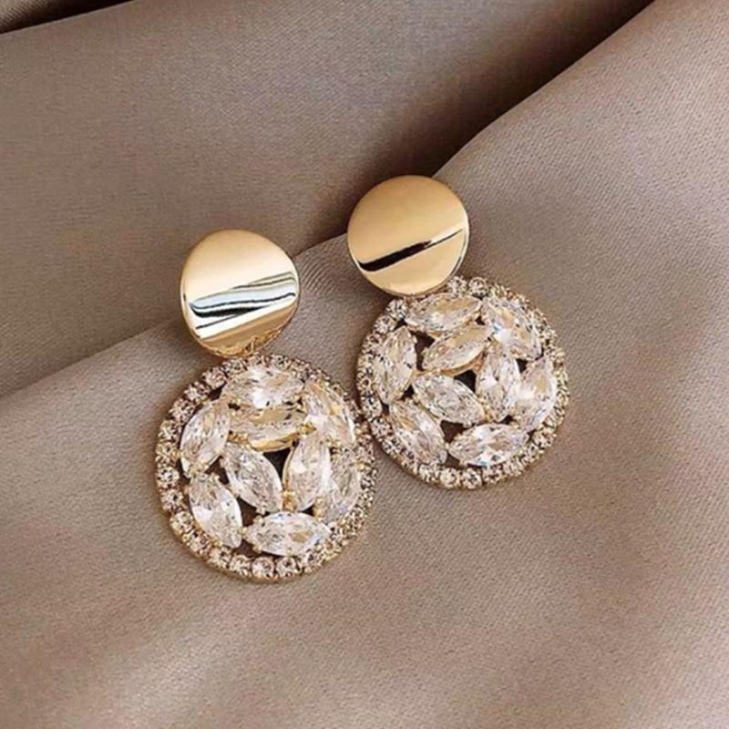 2020 Geometric Metal Round Female Earrings Crystal Luxury Wedding Gift