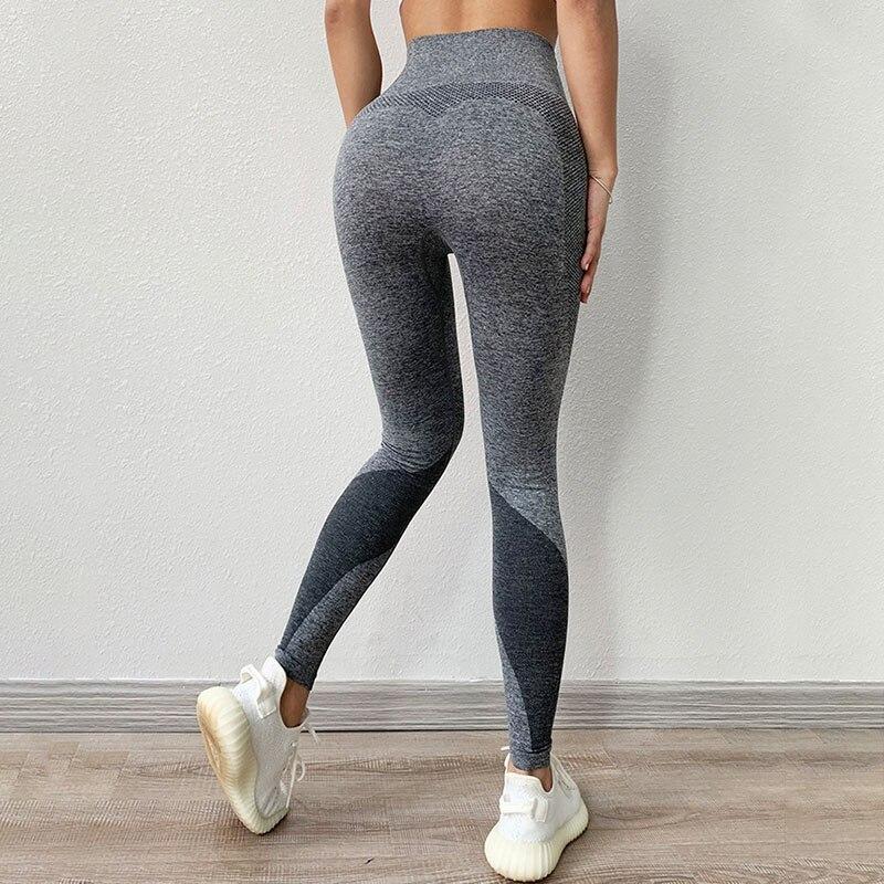 NORMOV Fitness Women Leggings Fashion Polyester High Waist Ankle Length Jegging Patchwork  Skinny Casual Female Leggings Push Up