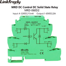 MRD-060D2 2A LED Turn Sigals SSR Solid Sate Relay DC DC Input: 5V 12V 24VDC Interface Voltage Din Rail Relay Switch Module Board