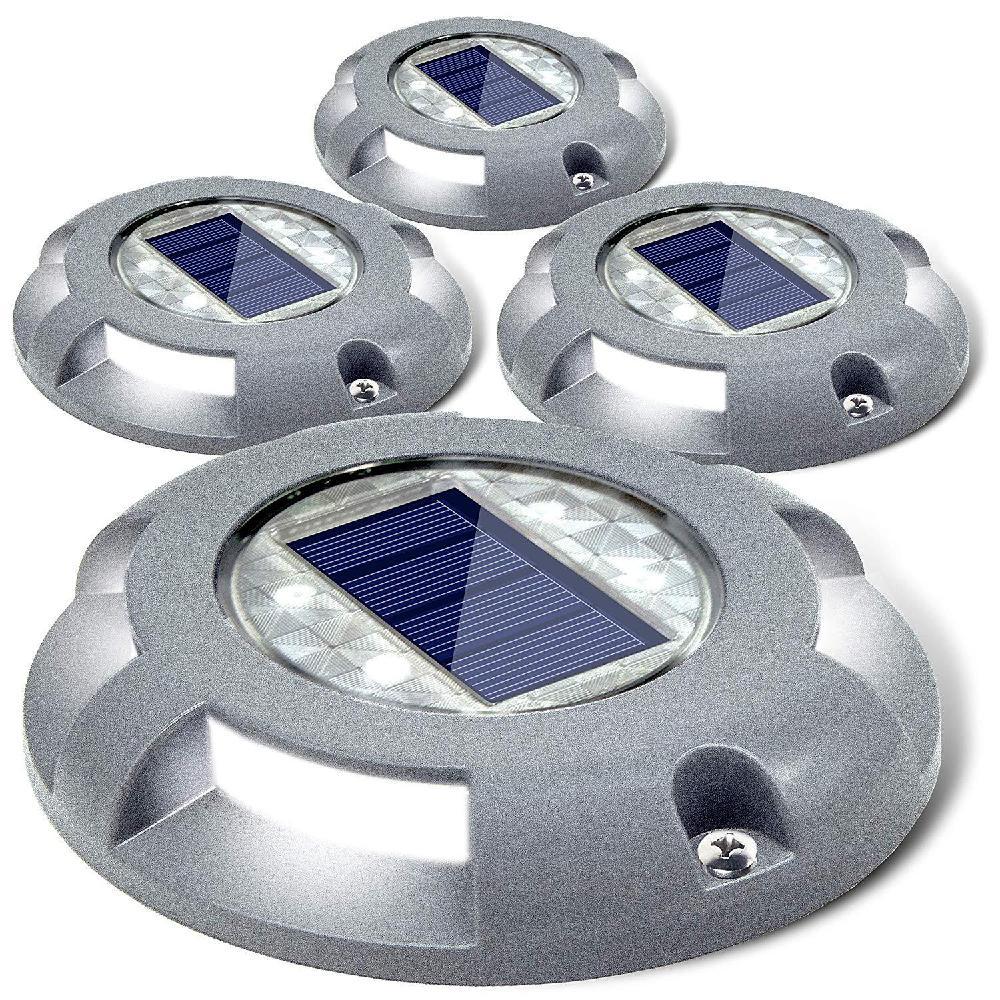 Solar Dekverlichting Oprit Dock LED Licht 4LEDs Hoge Druksterkte Waterdicht Weg Markers voor Stap Stoep Trap Tuin Pathway