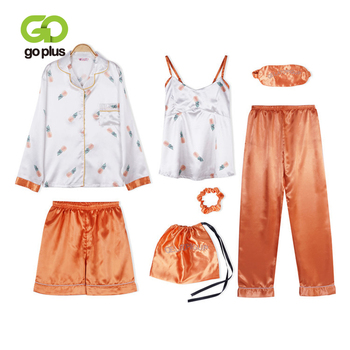 GOPLUS Seven Piece Set Womens Sleepwear Ladies Pajamas Nightwear Emulation Silk Striped Pyjama Long Sleeve Sweet