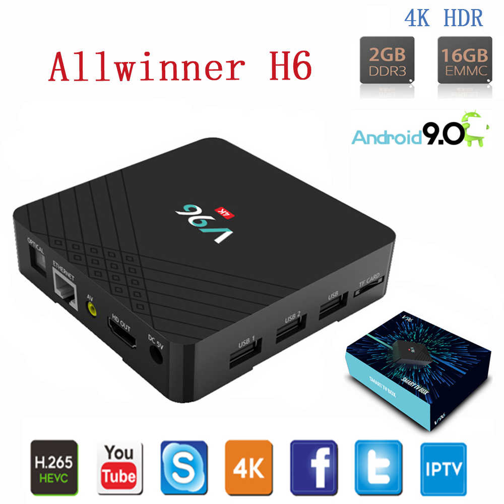 Vmade Android 9.0 Tv Box Wifi Allwinner H6 Quad Core 2 Gb 16 Gb H.265 4K Google Tv Netflix iptv Mediaspeler Mini Set Top Box
