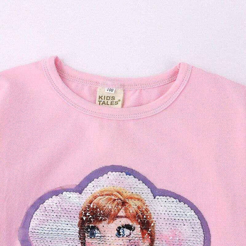 Girls Long sleeve T-shirt Cotton Clothing Magic Sequin T Shirt Change Graph Elsa And Anna Casual Fashion T Shirt Kids Tops Tee 2