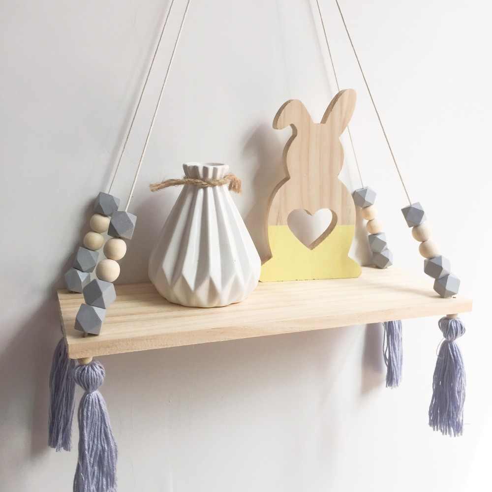 الأطفال غرفة نوم المنظم للعب رفوف خشبية رف جدار ذاتي الصنع التخزين المنظم رفوف رف خشبي ديكورات المنزل