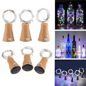 Image 1 - Solar Powered Wine Bottle Cork Shaped LED Copper Wire String Outdoor Light Garland Lights Festival Fairy Light DIY Christmas