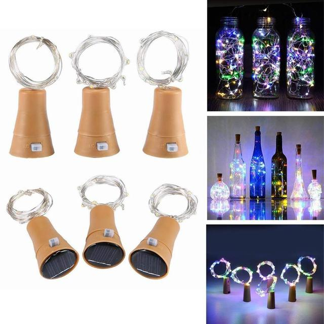 Solar Powered Wine Bottle Cork Shaped LED Copper Wire String Outdoor Light Garland Lights Festival Fairy Light DIY Christmas