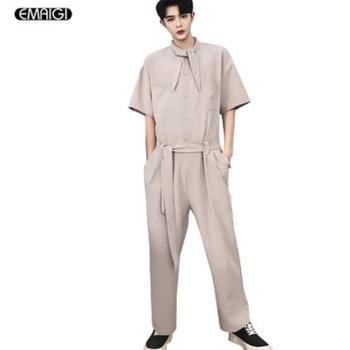 Men Women Bow Collar Fashion Casual Overalls Pant Male Street Hip Hop Dancer Jumpsuit Harem Trousers