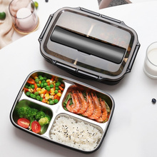 304 Stainless Steel Lunch Box Set Students Tableware Spoon Folk Bento Boxes Dinnerware Removable Tray Children Food Container cp 33 heat preservation stainless steel electric heating lunch box w egg tray spoon white
