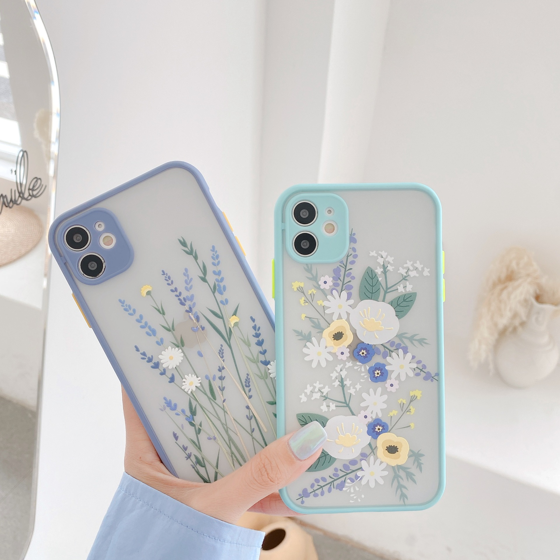 Luxury Flower Case For iPhone 12 Mini 11 Pro Max X XR XS Max 7 8 Plus 3D Relief Floral Transparent Soft TPU Back Cover