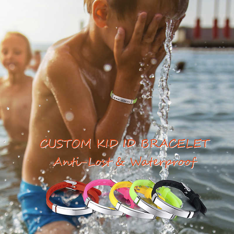 Vnox personnaliser enfants bébé ID Bracelets Silicone souple gouvernail acier inoxydable enfants filles garçons personnalisé d'urgence nom téléphone