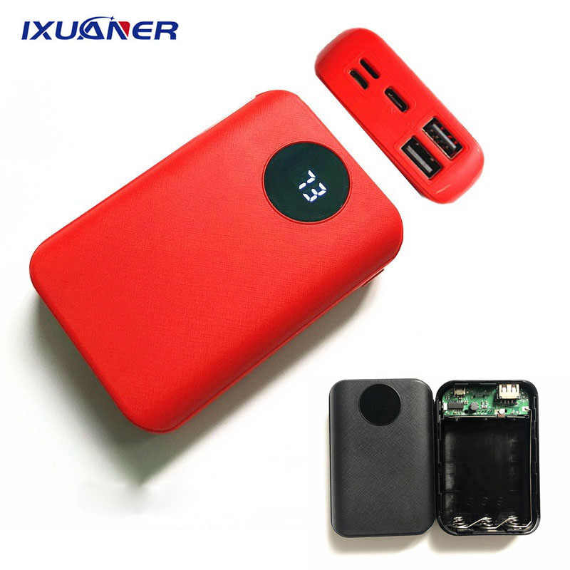 Portabel 2 Port USB Powerbank DIY Case 3X18650 Battery Charger Ponsel Charger Power Bank Box Shell Kit untuk Iphone Huawei