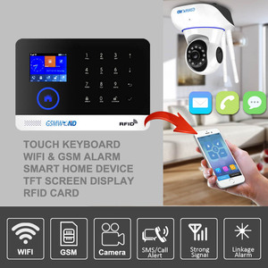 Image 2 - Wifi GSM APP RFID Wirelesss home security gsm alarm system touch keyboard 433MHz door detector infrared sensor alarm PG 103 W2B