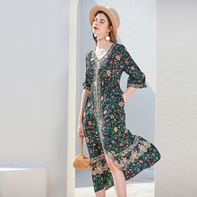 Женское платье из 100% шелка с принтом симметричный дизайн v