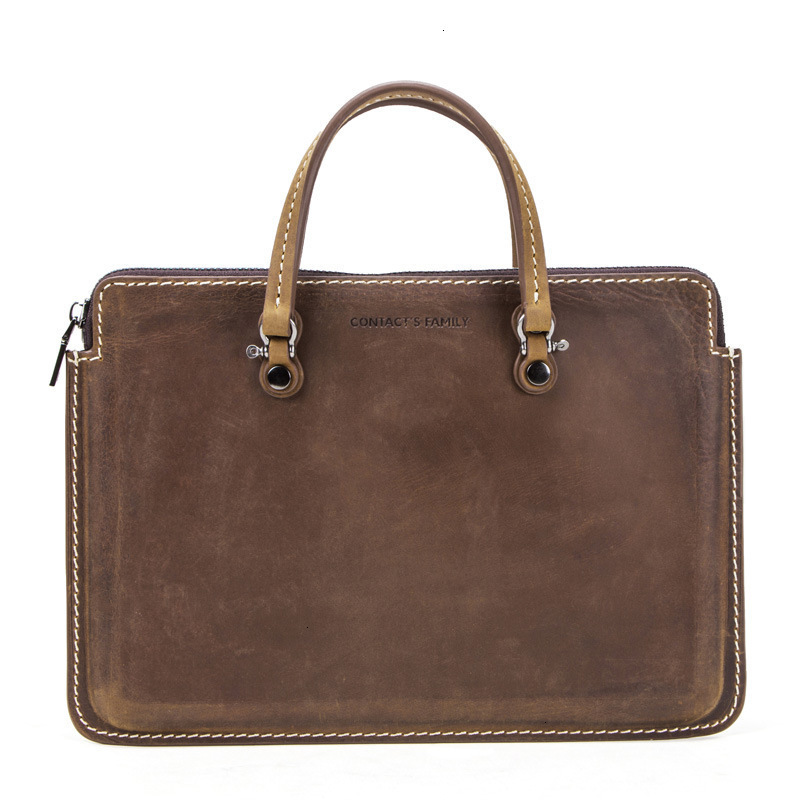 New Crazy Horse Briefcases Mens Leather Laptop Messenger Soft Bags 13.3 Inch Portable Genuine Notebook Computer Package Designer