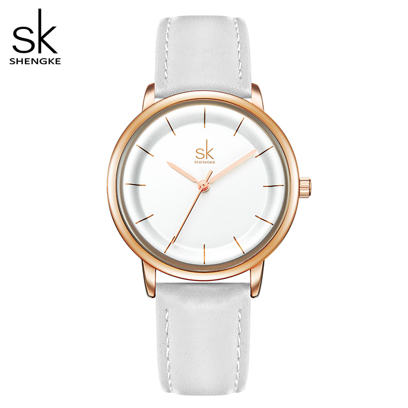 Shengke Women Watches Simple Fashion Female Leather Quartz Wrist Watch Ladies Waterproof Clock Girl Gift Relogio Feminino