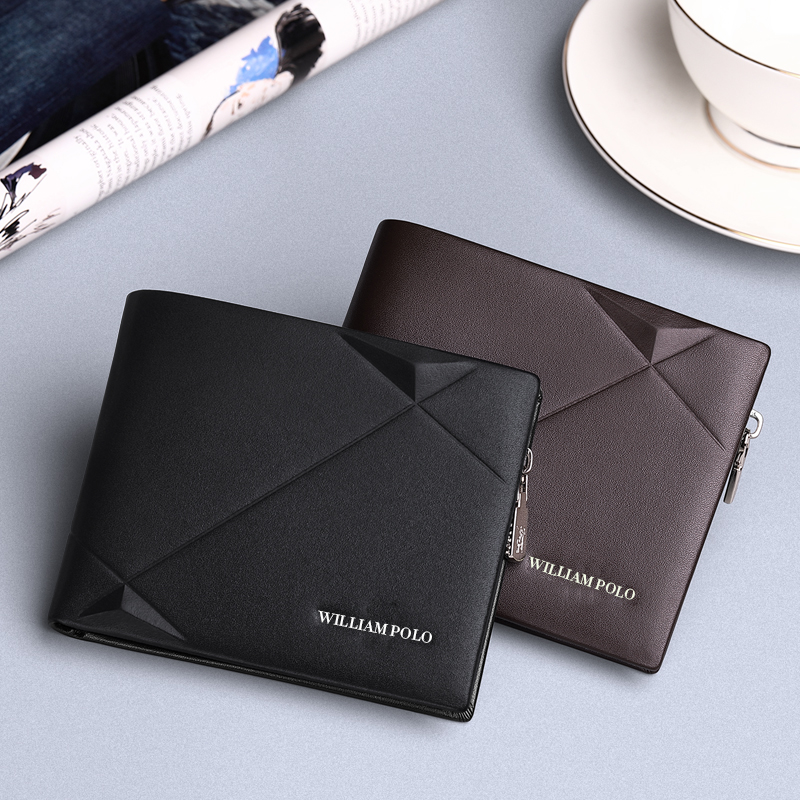 WILLIAMPOLO Brand leather genuine men zipper short wallet men Cowhide Original Mini Purse fashion design luxury wallets for men