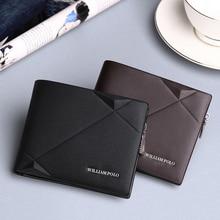 WILLIAMPOLO marka deri hakiki erkek fermuarlı küçük cüzdan erkekler inek derisi orijinal Mini çanta moda tasarım lüks cüzdan erkekler için