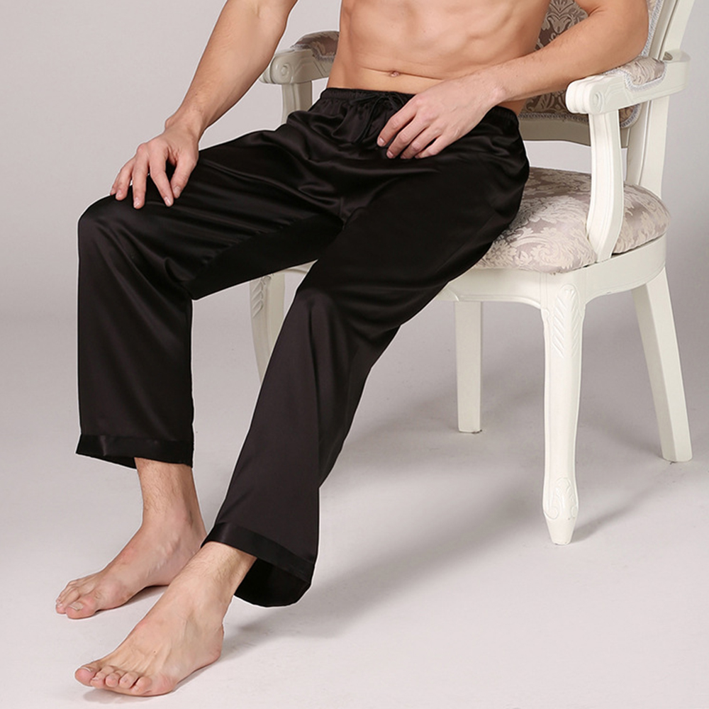Dihope 2020 Casual Men Sleep Bottoms Satin Sleepwear Soft Nightgown Pants Elegant Solid Pajama Pants Male Lounge Night Wear
