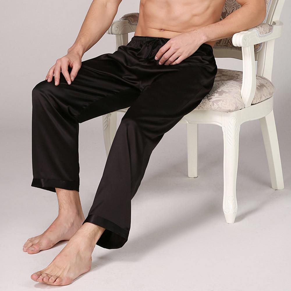 Dihope 2020 Casual Men Sleep Bottoms Satin Sleepwear Soft Nightgown Pants Elegant Solid Pajama Pants Male Lounge Night Wear