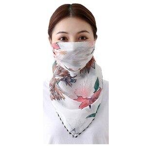 2 шт. женский шифоновый пыленепроницаемый солнцезащитный шарф для лица с принтом на шею, летний уличный шарф для верховой езды, платок