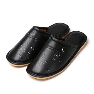 Image 5 - ZXWFOBEY الرجال النساء أحذية دافئة المنزل حذاء للحديقة الفراء اصطف الشرائح داخلي خف جلدي أحذية الشتاء