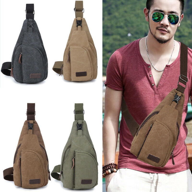 Mens Sling Bag Chest Cross Body Shoulder Canvas Messenger Pack Travel Hiking Boy Waist Packs