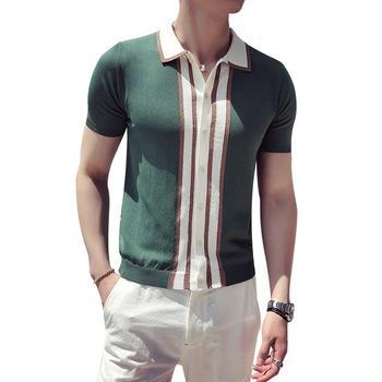 polo Contrast Knit Stripe Polo Shirt British Men Fashion Short Sleeve Polo  Camisa Masculina Polo Playera Polo Hombre Black Green