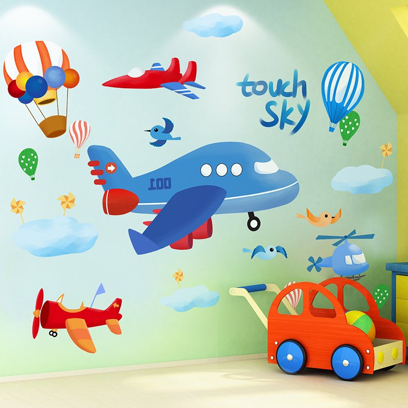 [shijuekongjian] Cartoon Airplanes Wall Stickers DIY Hot Air Balloons Mural Decals for Kids Bedroom Baby Room Nursery Decoration image