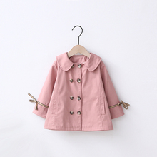 Baby Girls Clothes Double Button Bowtie Newborn Jacket Hooded Outerwear Baby Girl Coats Long Sleeve Kids Hooded Outerwear Coats cheap AIQINGSHA Casual COTTON Acetate Solid Turn-down Collar Full Fits true to size take your normal size Thin (Summer) Canvas