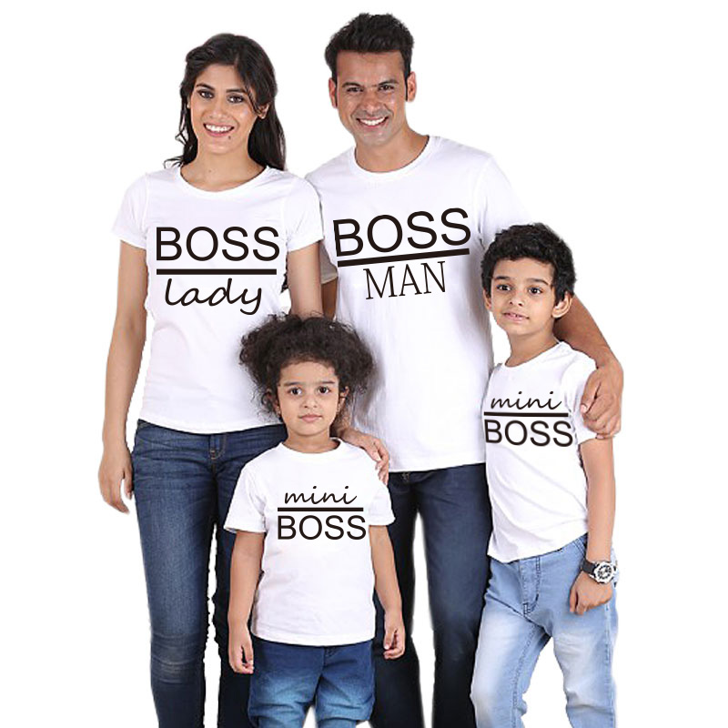 BOSS MAN And BOSS Mini Lady Print Family Matching Father Son Kids Clothes Baby Boy Father And Girl Mon Family Look Clothes