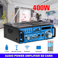 400W Wireless bluetooth Amplifier12/220V 2CH HIFI Audio Amplifier LCD Display AMP FM Stereo Audio FM Remote Control for Car Home