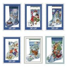 Рождественские чулки для вечной любви, экологичные хлопковые китайские наборы для вышивки крестиком, подсчитанные штампы 14, 11 карат, Нового...