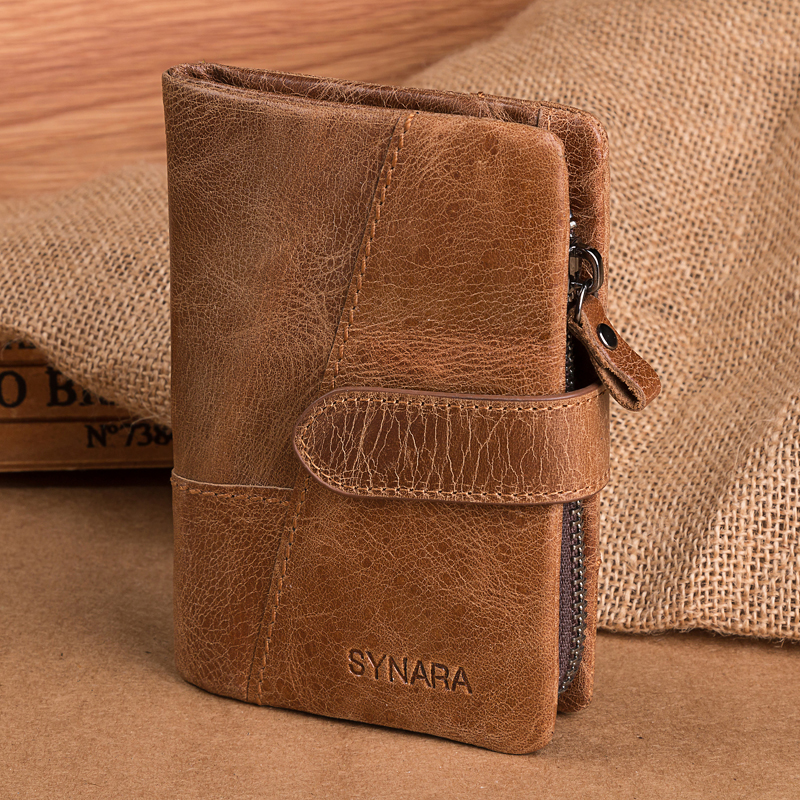 Купить с кэшбэком SYNARA Spring New Arrival Genuine Leather Men's Wallet French Style Wallets For Men Rugged Leather Cash Organizer Retro design